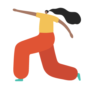 cartoon woman lunging
