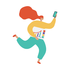 cartoon of woman with phone and data chart